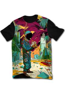 Camiseta Manga Curta Stompy Psicodelica 36 Preto