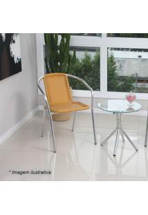 Conjunto De Mesa & Cadeiras - Marfim & Prateado - 3Palegro