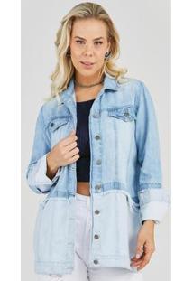 Maxi Jaqueta Jeans Express Longa Yasmin Feminina - Feminino-Azul