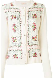 Tory Burch Cardigan Com Estampa Floral - Neutro