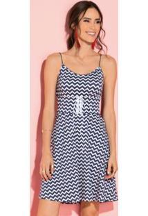 Vestido Zigzag Azul De Alças Finas
