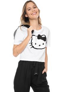 Blusa Cropped Cativa Hello Kitty Paetê Com Vira Branca