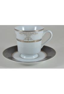 Conjunto De Xícaras Para Chá C/ Pires Porcelana Schmidt 06 Peças - Dec. Royal