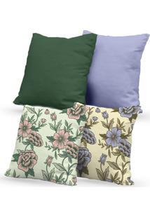 Kit 4 Capas De Almofadas Decorativas Own Floral 45X45 - Somente Capa