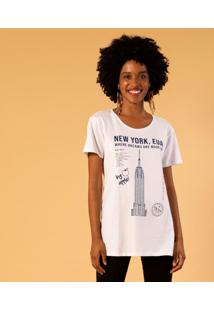 T-Shirt Alongada Estampa New York Unica M Incolor - Kanui