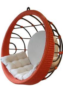Poltrona De Balanco Bowl Em Aluminio Revestido Em Corda Cor Coral - 53803 Sun House