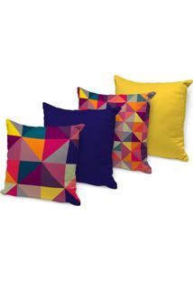 Kit 4 Capas Para Almofadas Decorativas Geométricos Multicolor 45X45Cm, - Kanui