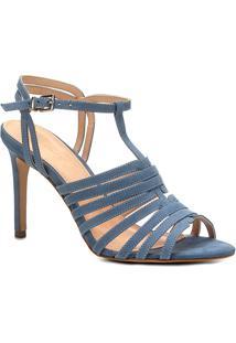 Sandália Couro Shoestock Salto Fino Tirinhas Feminina - Feminino-Azul