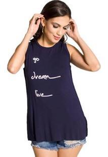 Camiseta Handbook Regata Viscose Feminina - Feminino-Azul