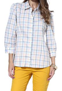 Camisa Energia Fashion Mg 3/4 Xadrez Azul