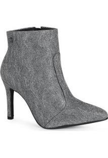Ankle Boots Feminina Lurex Prata
