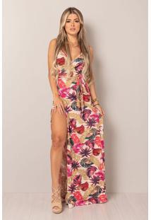 Vestido Longo Transpassado Coral Folhagem