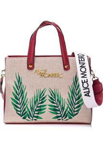 Bolsa Alice Monteiro Bordado Folhas - Vermelha