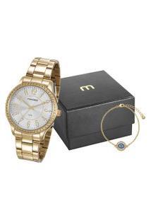 Kit De Relógio Analógico Mondaine Feminino + Pulseira - 99363Lpmvde1K1 Dourado