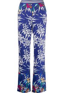 Missoni Calça Pantalona Com Estampa Floral - Azul