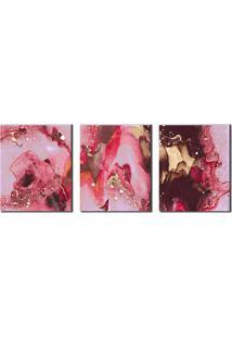 Quadro Decorativo Marmorizado Abstrato Rosa E Dourado
