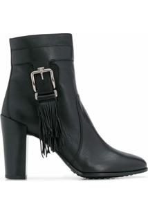Tod'S Ankle Boot Com Franjas - Preto