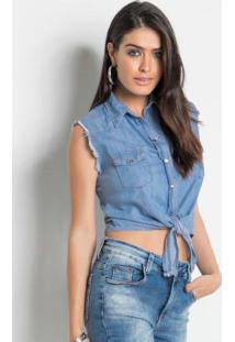 27ca1335e0 ... Camisa Jeans Sawary Cropped Sem Mangas Azul