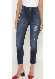 Jeans Super High Ankle Destroyed- Azul Escuro- Lançalança Perfume