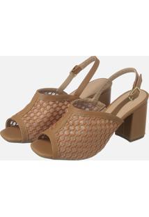 Sandalia Salto Quadrado Caramelo Bordado Ref: 8309124.007.006 - Tricae