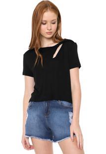 Blusa Calvin Klein Jeans Recorte Preta