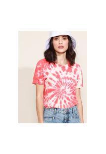 "Blusa Feminina Positive Vibes"" Estampada Tie Dye Manga Curta Decote Redondo Coral"""