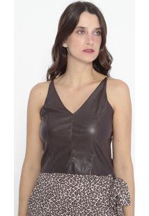 Blusa Cropped Com Recortes - Marrom Escuro - Kilometkm2