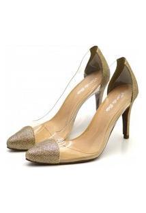 Sapato Feminino Scarpin Salto Alto Fino Em Glíter Dourado Com Transparência