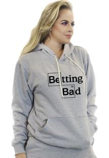 Blusa Moletom Feminino Flanelada Suffix Cinza Claro Estampa Breaking Bad