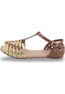 Sandália Sedução Feminina - Feminino-Marrom Escuro+Dourado