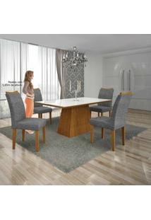 Mesa Pampulha 120X80 Cm C/4 Cadeiras Vidro Branco Linho Cinza /Imbuia Mel - Leifer Móveis