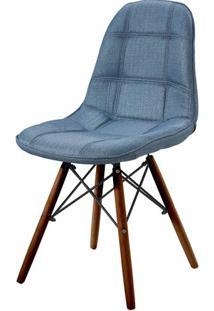 Cadeira Eames Estofada Linho Azul Base Madeira Escura - 44877 - Sun House