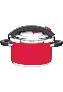 Panela De Pressão Preto- Inox & Vermelha- 21,9X37,3Xtramontina