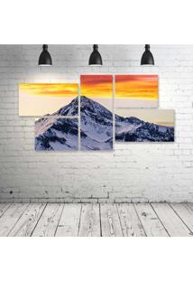 Quadro Decorativo - Sunrise-At-Ft-Colorado-Rocky-Mountains - Composto De 5 Quadros