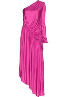 Halpern Vestido Assimétrico Com Ombro Único - Rosa