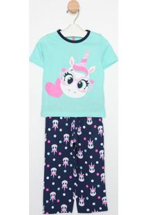 Pijama Unicórnio- Verde Água & Rosapuket