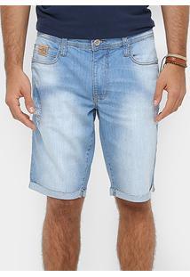 Bermuda Jeans Colcci Davi Stone Barra Laser Puídos Reta Masculina - Masculino