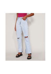 Calça Jeans Feminina Reta Cintura Super Alta Destroyed Marmorizada Com Fenda Azul Claro