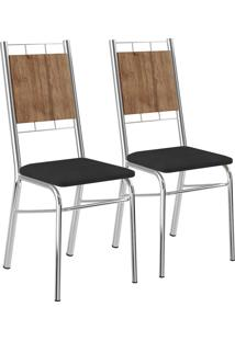 Kit 2 Cadeiras Mdp Native Napa Preto Cromado Móveis Carraro