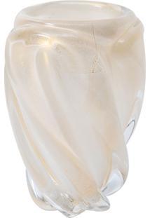 Vaso Murano Branco Bastao Com Ouro Pequeno