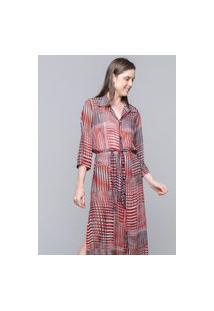 Vestido Chemise 101 Resort Wear Midi Evase Crepe Estampado Geometrico Vermelho