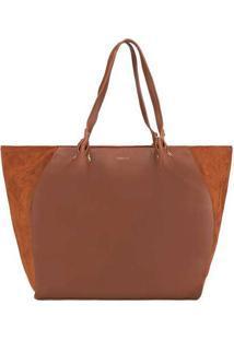 Bolsa Shopping Bag Gabriela Com Recortes Camurça C