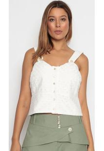 Blusa Cropped Com Linho - Off White - Aboutabout