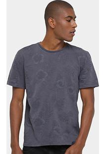 Camiseta Triton Floral Masculina - Masculino-Chumbo