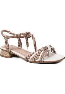 Sandália Shoestock Salto Baixo Cadarço Feminina - Feminino-Caramelo