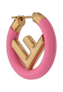 Fendi Brinco Único Com Logo - Rosa