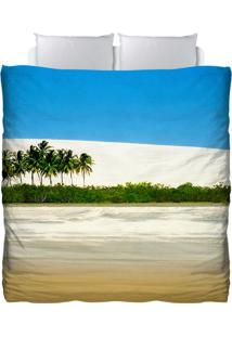 Edredom Colours Creative Photo Decor - Paisagem Dunas E Coqueiros Azul
