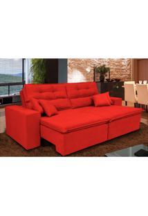 Sofá Cairo 2,32M Retrátil Reclinável, Molas No Assento E 4 Almofadas Tecido Suede Vermelho Cama Inbox