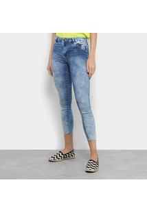 Calça Jeans Skinny Sawary Push Up Cintura Média Feminina - Feminino-Azul
