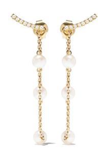 Yoko London Par De Brincos Trend Freshwater De Ouro 18Kt Com Pérola E Diamante - 6